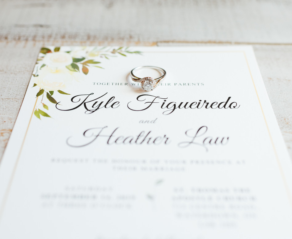 invitation with engagement ring flat lay