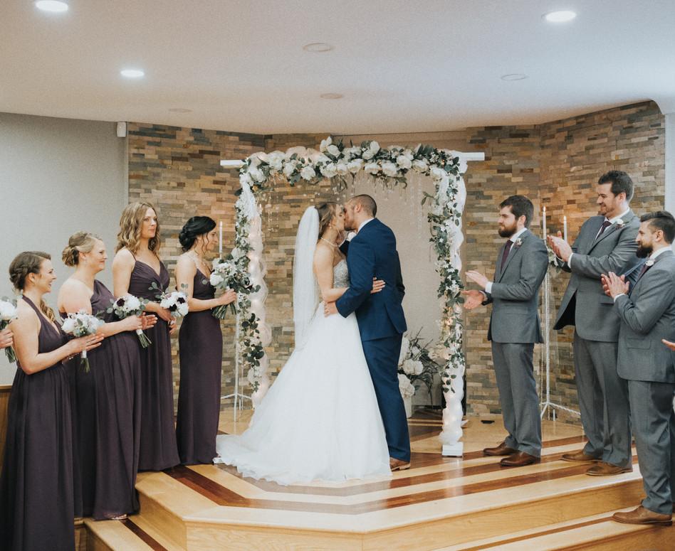 Wedding Ceremony Newlywed Kiss