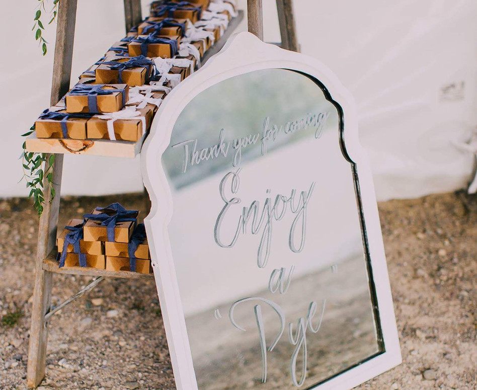 Wedding Favours, Individual Berry Pies in Rustic Cardboard Boxes with Blue and White Ribbon with Clever Mirror Signage