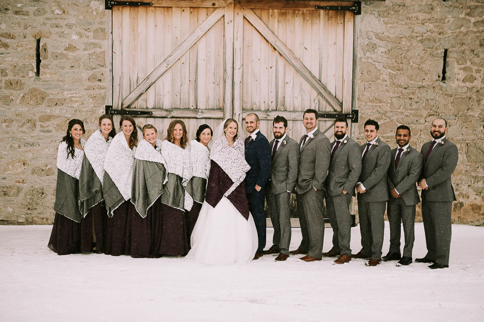 Wedding Party Posing Winter Wedding