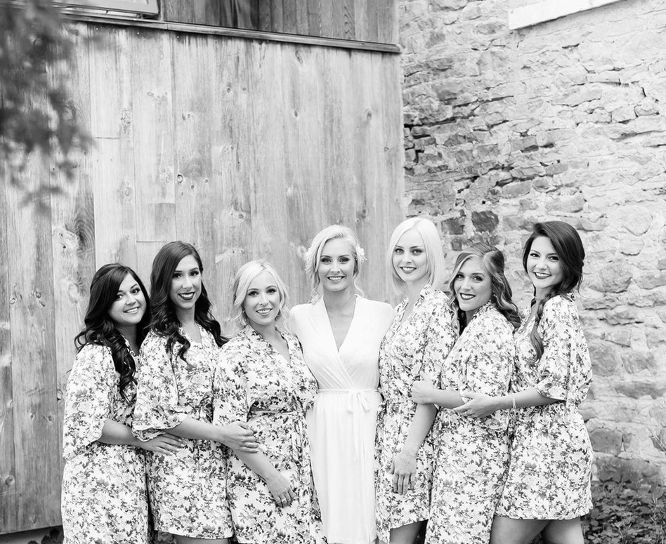 Bridal Party in their floral robes