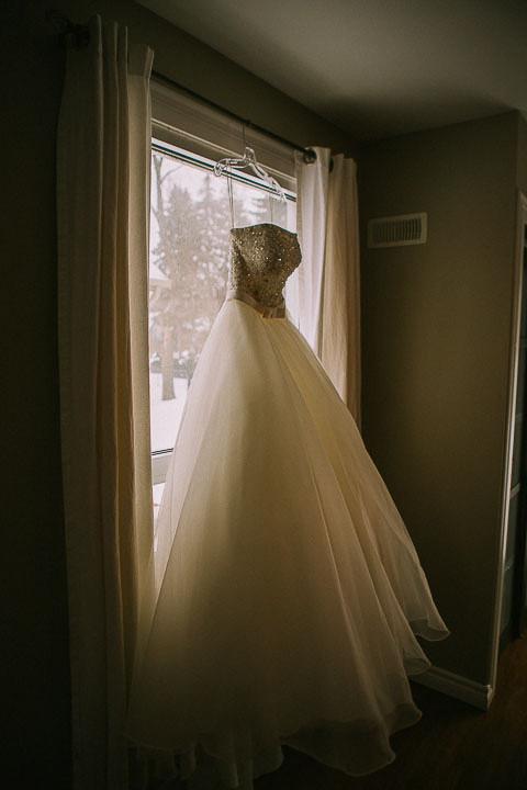Hanging Wedding Dress Shot