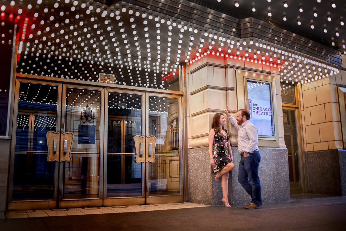 Engagement Photography Downtown Chicago Theater Kate Bek