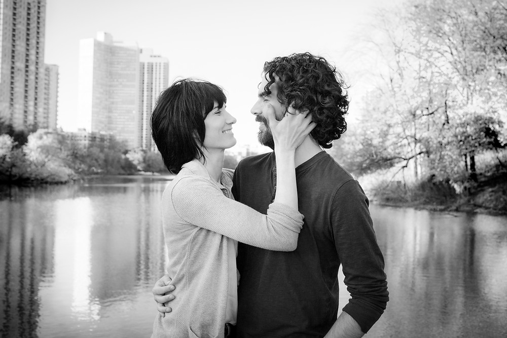 Chicago Lifestyle Engagement Session Candid Black and White