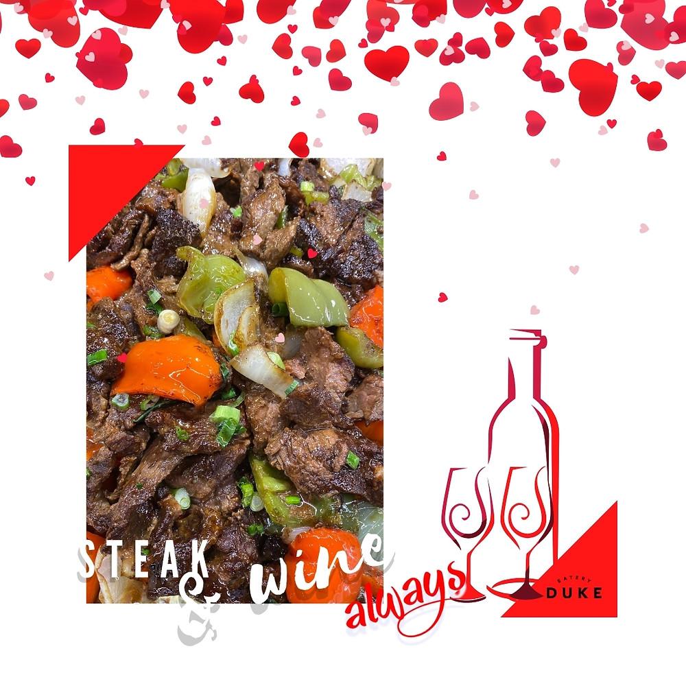 DUKE Eatery Steak Wine Valentine's Day