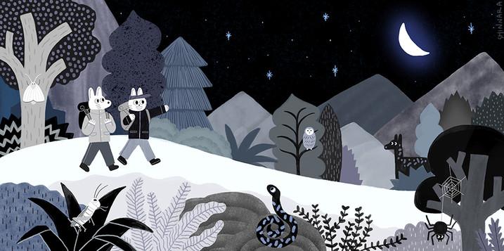 밤의 숲길