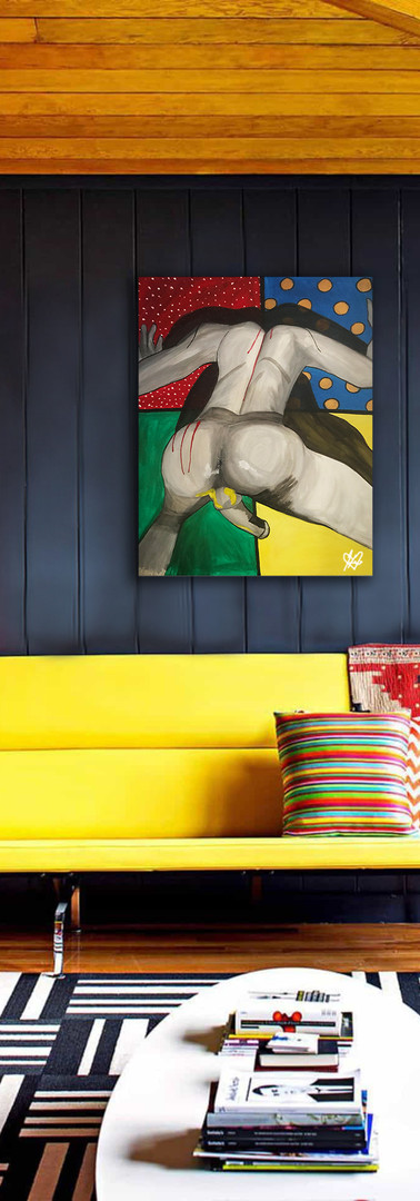 Living-Room-With-Yellow-Sofa-And-Pop-Art