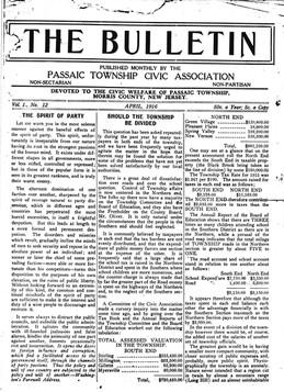 1916: The Bulletin of Passaic Township