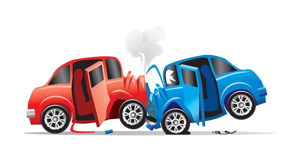 ציור של תאונה בין שתי מכוניות