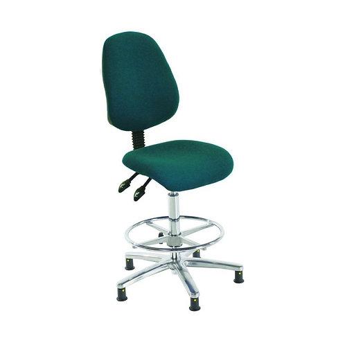 Chrome High Back Fabric Draughtsman Chair