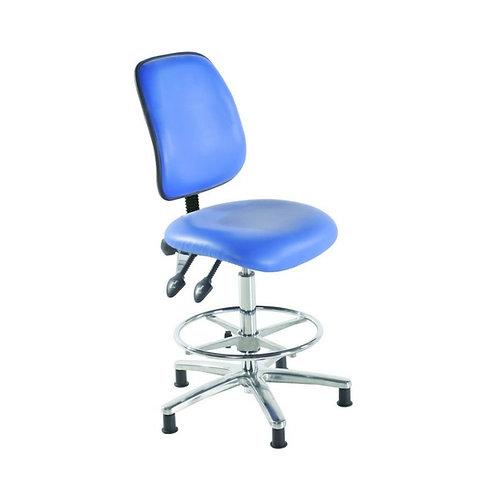 Chrome High Back Vinyl Draughtsman Chair