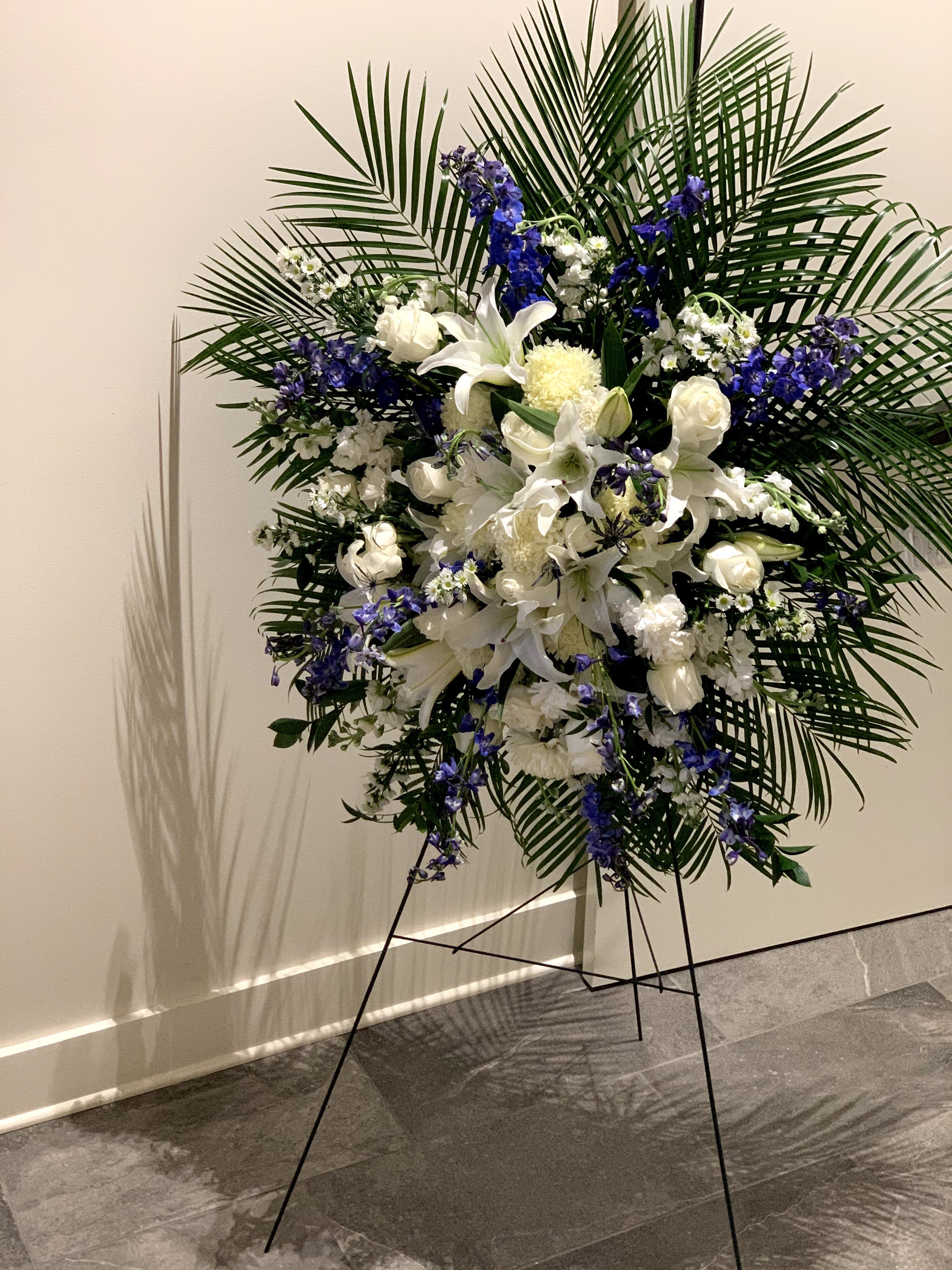Funeral Spray - Stand White and Blue