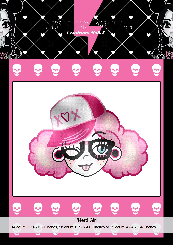 Mini Cross Stitch Nerd Girl