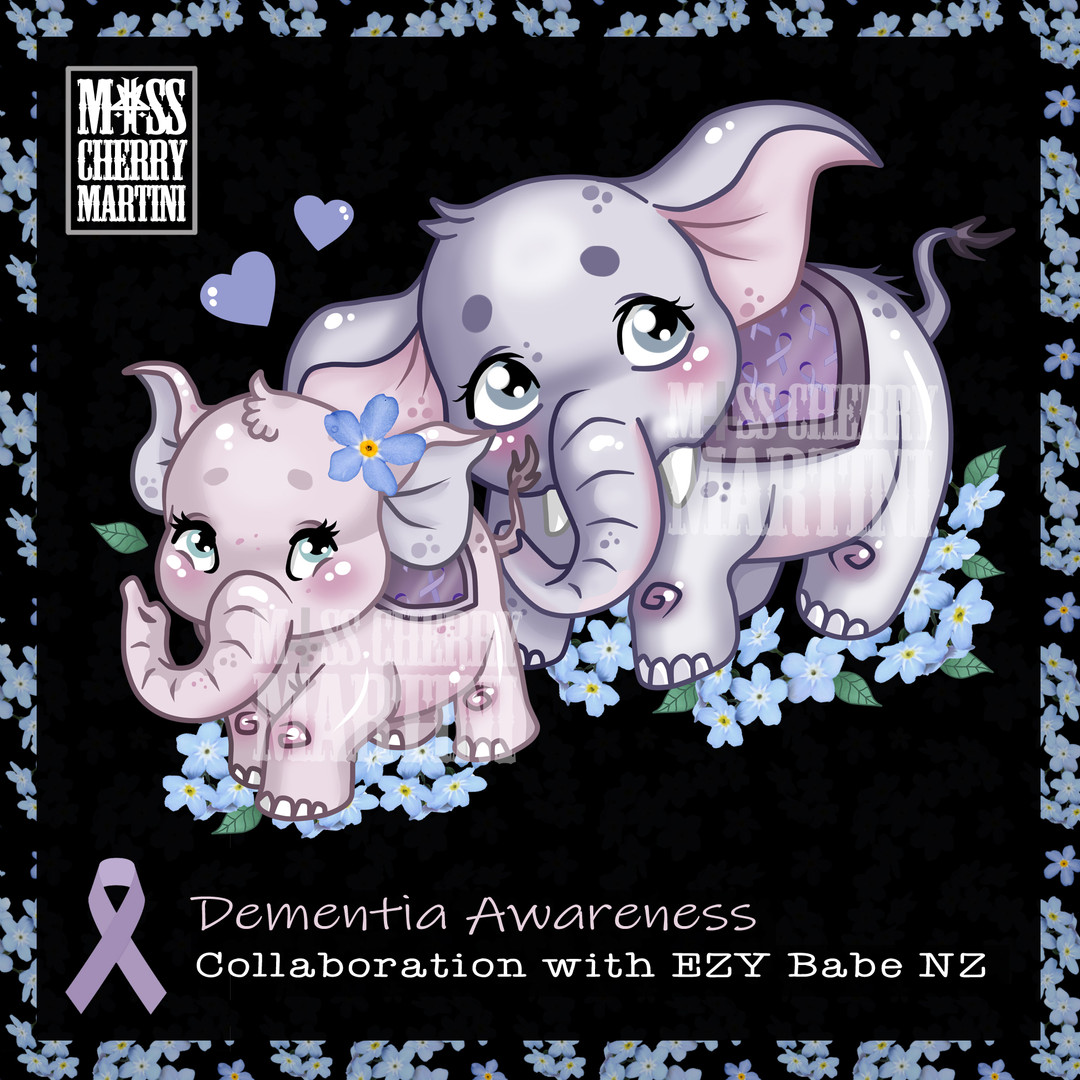 Dementia Awareness Collaboration with EzyBabe NZ to Fundraise for this tragic Illness.  EzyBabe NZ makes Eco Friendly Items! https://www.facebook.com/EzyBabeBabiesGoods  Designed By Miss Cherry Martini Also Available in my RedBubble and TeePublic Store! Support a Sick Girl, Or Boy! In this Case.