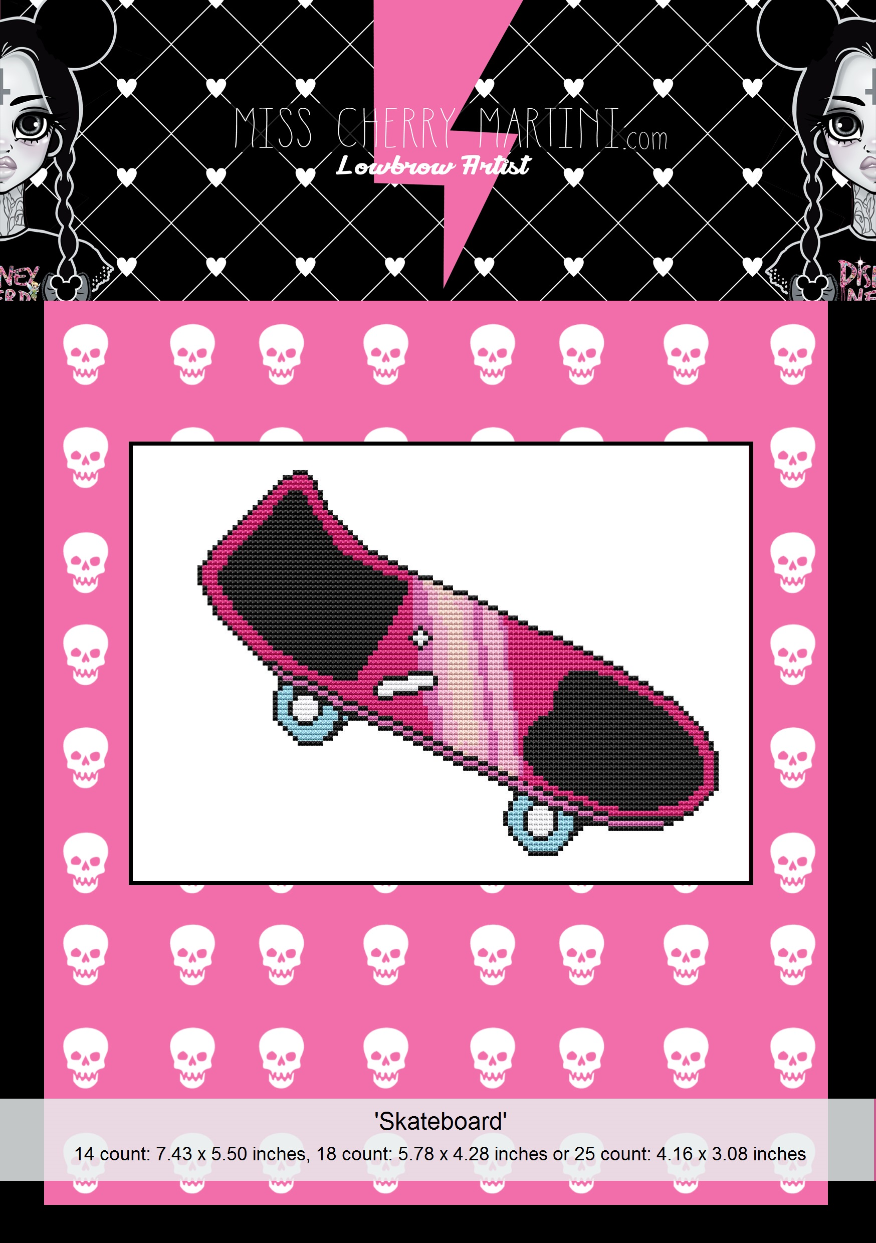 Mini Cross Stitch SKATEBOARD