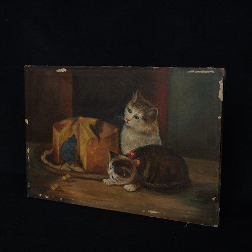 20世紀初期 猫とネズミの油絵