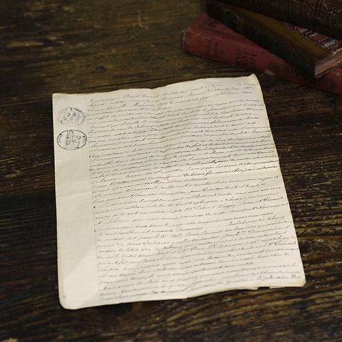 羊皮紙に綴られた書類1830年