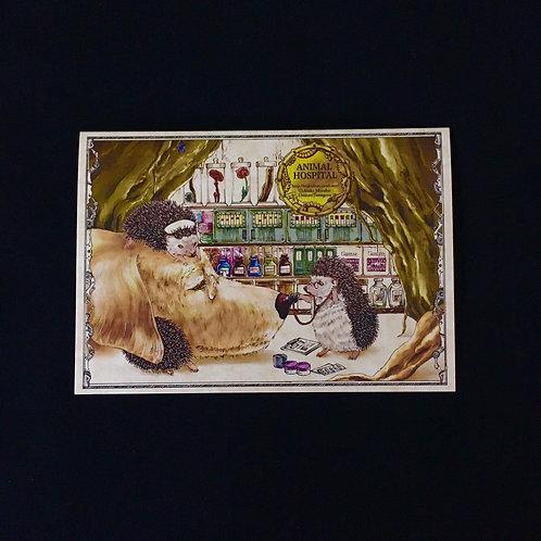 2ツ折カード「ハリネズミのお医者さん」