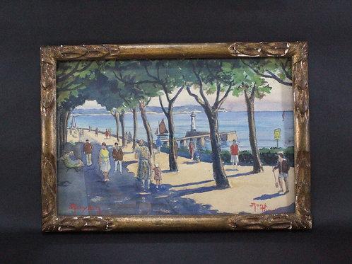 海岸の並木道 水彩画