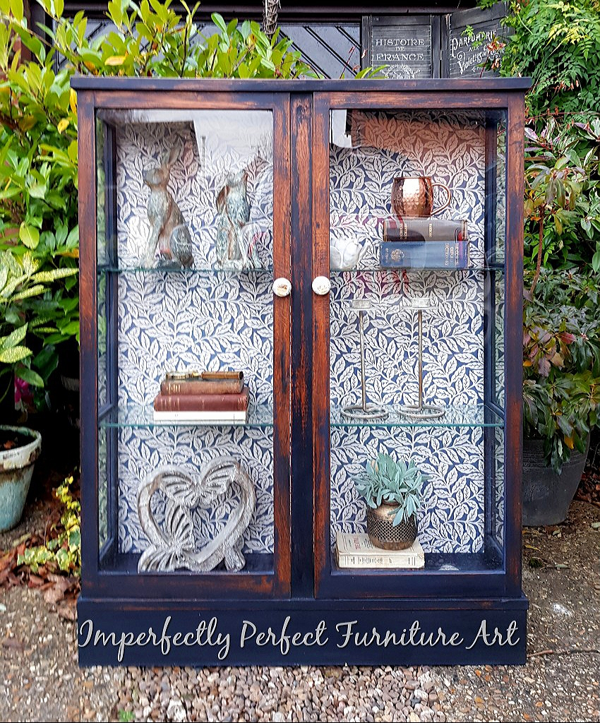 THE NAVY BOTANICAL GLASS CABINET