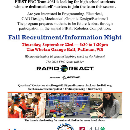 Fall Information and Recruitment Night!