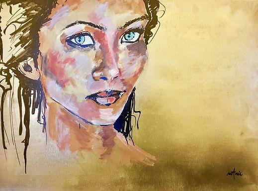 Peinture Acrylique femme l'or