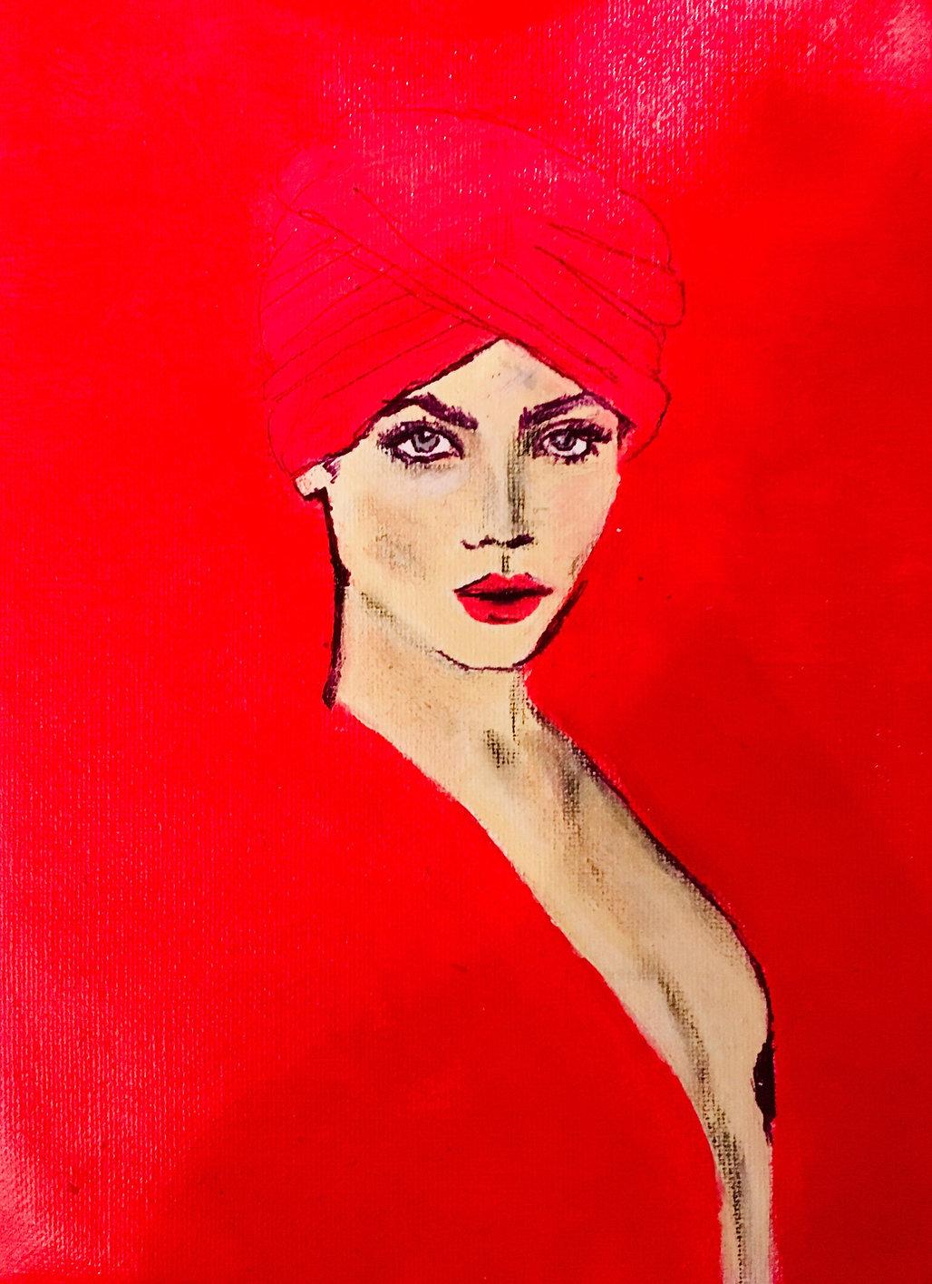 Peinture Acrylique femme rouge drapée