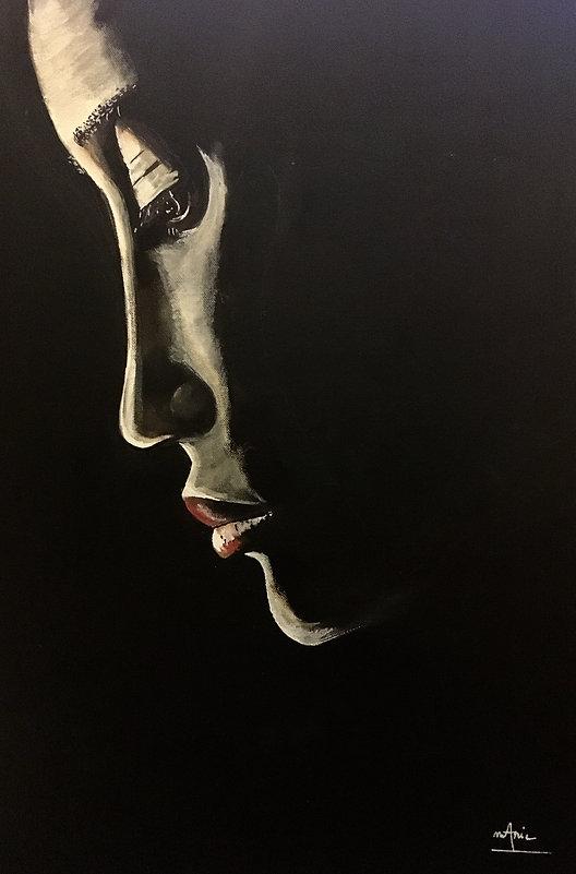 Peinture Acrylique femme le nouveau visage de la lune
