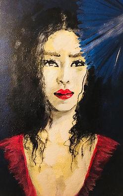 Peinture acrylique femme asiatique