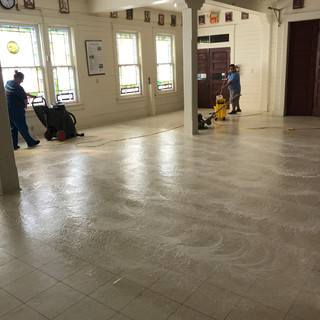 Floor stripping and waxing.