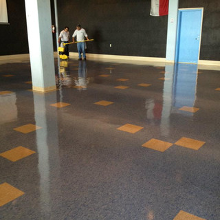 Large auditorium floor buffing and waxing