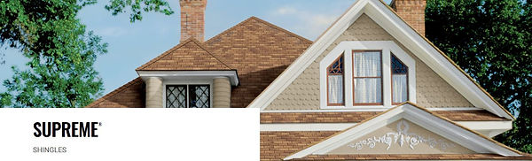 25 Year Supreme Shingles From Owens Corning. This 3 Tab SHingle is used to replace Roofs with a builder grade basic roof. This is the most Cost Effective option for people looking to get by and have a decent roof. Clicking here leads to the color options for supreme shingles.