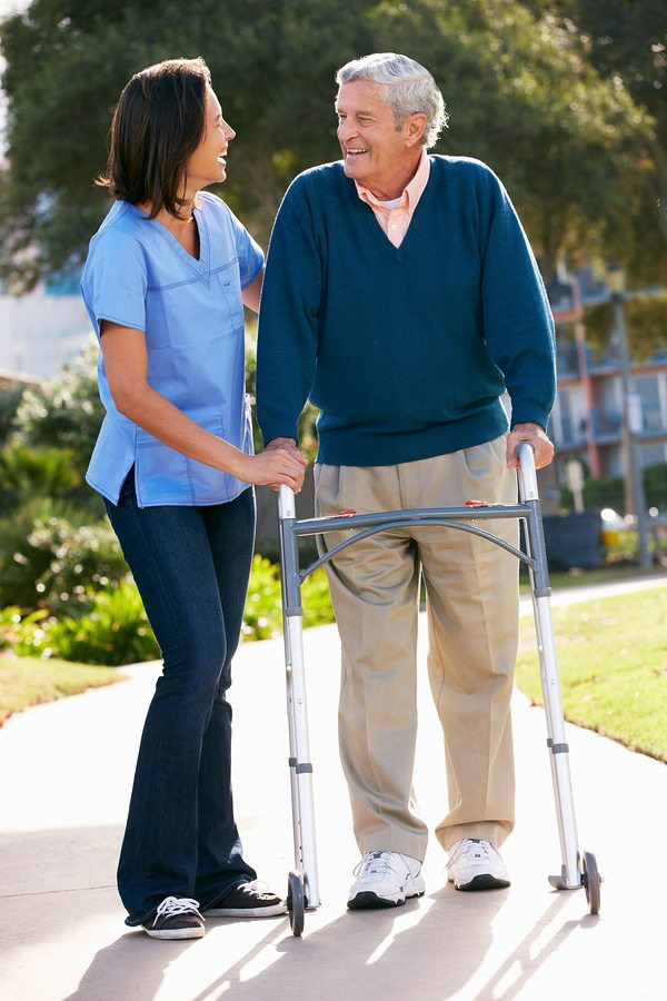 Caregiver walking with client