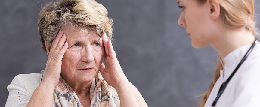 Frustrated Dementia patient and caregiver