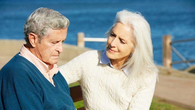 caregiver speaking to dementia patient
