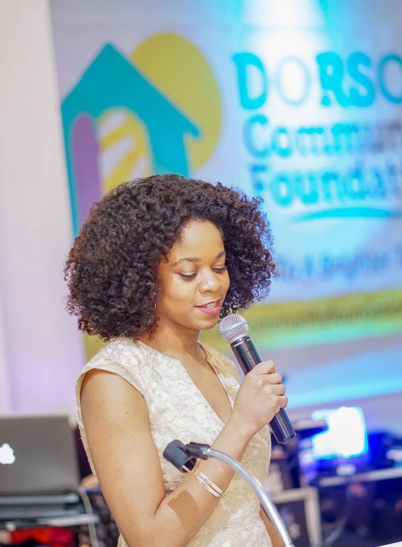 Natasha Scott speaking at annual DCF fundraising gala