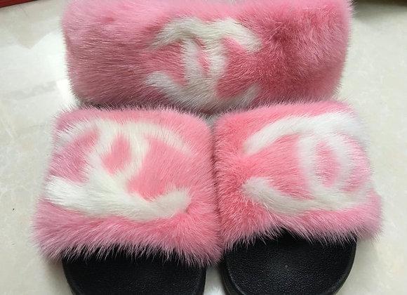 Pink C***** Mink Slides