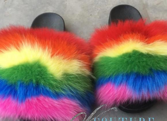 Rainbow Fox Fur Slides