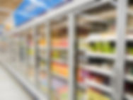 Commercial refrigerators in a large supe