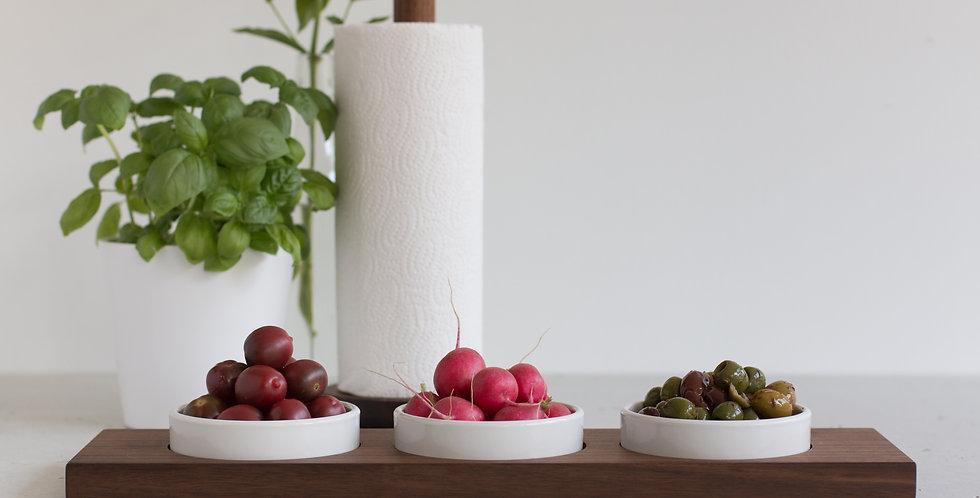 Servierbrett Nuss für 3 mittlere Keramikschalen