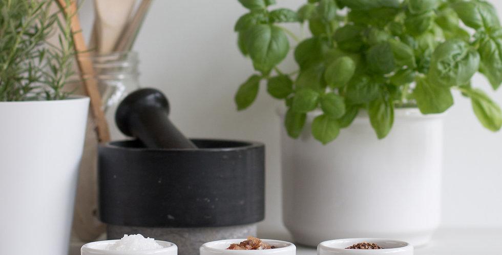 Servierbrett Nuss für 3 kleine Servierschälchen