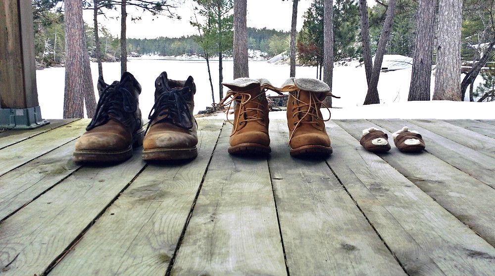 lake house, work boots, baby slippers, nature