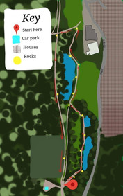 A map of the rock hunt trail - we followed it to find the 14 painted rocks (one at each of the yellow dots).