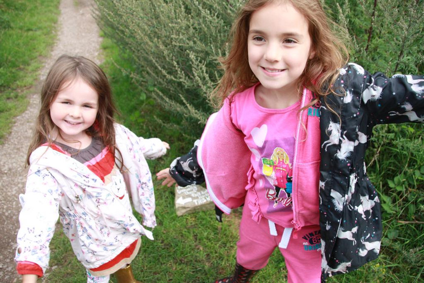 Esmae and Vesper-Mae about to start the rock hunt trail.