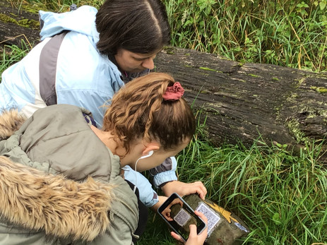 Margaret and Hannah scanning rock 1 to reveal its story.