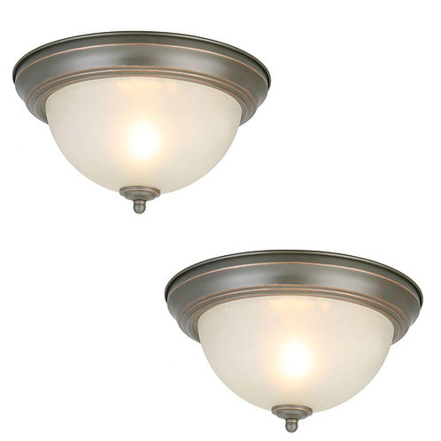 Commercial Electric 11 in. 1-Light Brushed Nickel Flush Mount with Frosted Glass