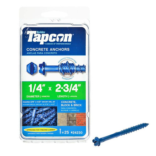 Tapcon 1/4 in. x 2-3/4 in. Hex-Washer-Head Concrete Anchors (25-Pack)