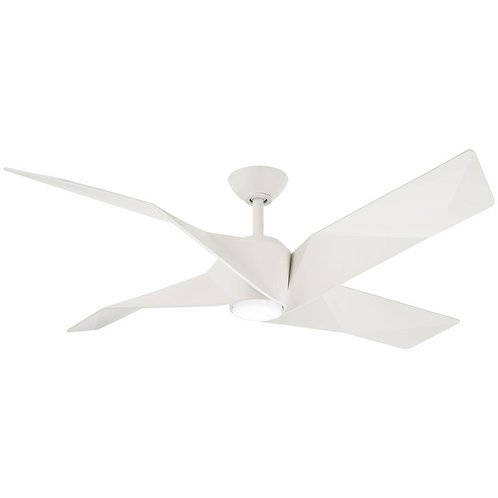 Welkin 56 in. Integrated LED Indoor Flat White Ceiling Fan with Light