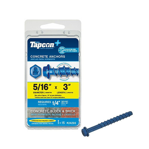 Tapcon 5/16 in. x 3 in. Hex-Washer-Head Large Diameter Concrete Anchors (15-Pack