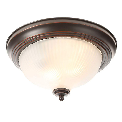 Hampton Bay 11 in. 2-Light Oil-Rubbed Bronze Flush Mount with Frosted Swirl Glas
